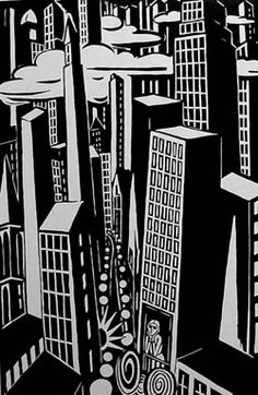 """""""Skyscrapers"""", 1926 by Frans Masereel (Belgian 1889 - 1972)....could be NYC?"""