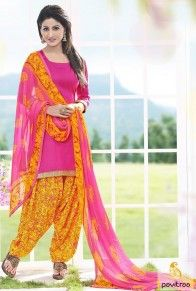Only 850/- Rupees #Pink Yellow Chiffon Punjabi Patiala Salwar Kameez  http://www.pavitraa.in/store/patiala-salwar-suit/ #salwarsuits, #salwarkameez, #patialasalwalwarsuits, #punjabisuits, #deisgnersuits, #pazamasalwarsuits, #festivalsalwarsuits, #dresses, #dailywearsuits, #aksharasalwarsuits