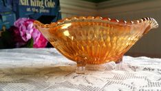 #Vintage 1930s #Marigold #CarnivalGlass #threefooted #ruffled #vintageglass #thehartyhoca  https://www.etsy.com/listing/499883293/vintage-1930s-marigold-carnival-glass?utm_campaign=crowdfire&utm_content=crowdfire&utm_medium=social&utm_source=pinterest