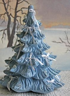 Christmas Decoration. Spruce Tree for Christmas Village or Individual Display. Ceramic Blue Tree. Tree Cloche over Candle. by AnythingDiscovered on Etsy