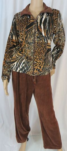 """MIRROR IMAGE"" 2 PIECE BROWN VELOUR PANTS & JACKET - PLEASE SEE ALL PICTURES #MIRRORIMAGE #PantSuit"