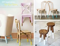 Dip-dyeing chair legs (spice up those old dining chairs!)