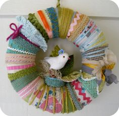 ribbon wreath fun for girls room - above the beds!?