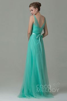 Modest Sheath-Column V-Neck Natural Floor Length Tulle Sleeveless Zipper Bridesmaid Dress with Sashes COZF1500F
