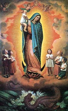 Mary goddess of Catholicism (Virgin of Guadalupe .. Thanks Yasmin for the info!). Note the blaze behind her, a figure of man with wings like Isis right under her feet with horns, and the dragon or serpent beneath. And, she stands in the blazing mandorla.