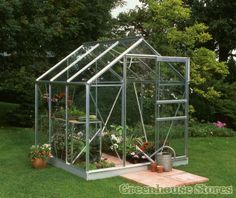 Halls Popular Silver 6x6 Greenhouse with Horti glazing from Greenhouse Stores.  http://www.greenhousestores.co.uk/Halls-Popular-Silver-6x6-Greenhouse-3mm-Horticultural-Glazing.htm