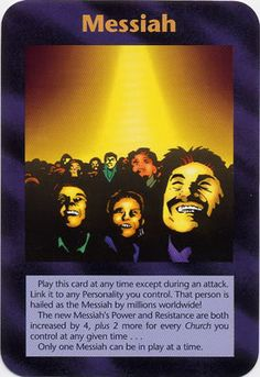 Illuminati Card Game only Published in 1995 - MESSIAH ...  This will be a fake Alien Messiah, NOT Jesus! 'KNOW THE DIFFERENCE'