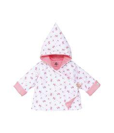 Veste à capuche bébé fille ouatinée en seersucker imprimé blanc Lait / lot Multico - Petit Bateau