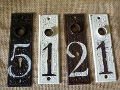 Antique ornate house number , apartment numbers.  These are examples of house plates done for customers.  You can choose to have custom ones done for you.   These are East Lake Design/ Old Victorian,  See our shop at https://www.etsy.com/shop/ragtagstudio