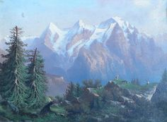 oil paintings of the alps | Antique oil on board. View of the Eiger, Moench and Jungrau mountains ...