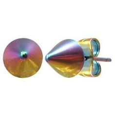 Anodized Stainless Steel Spike Stud Earrings