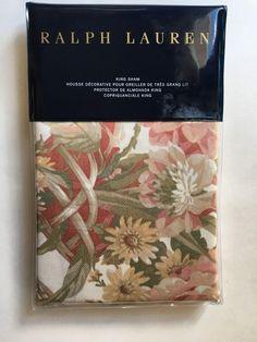 Ralph Lauren GUINEVERE King Floral Hollywood Cream Pillow Sham NWT MSRP $130  #RalphLauren #Cottage
