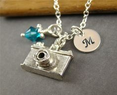 Camera Pendant Charm Sterling Silver Initial Necklace, Personalized Jewelry, Photography, Stamped Jewelry. $36.00, via Etsy.