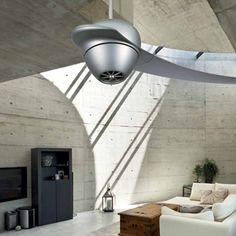 Ventilador FANIMATION en color gris monopala y de diseño futurista Ceiling Fan, Interior Design, Home Decor, Futuristic Design, Grey Colors, Lights, Interiors, Nest Design, Decoration Home