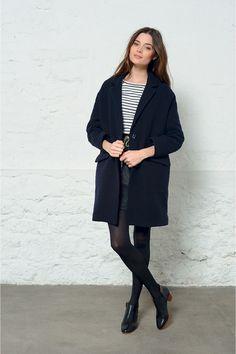 Manteau philomene marine - manteau - des petits hauts 1