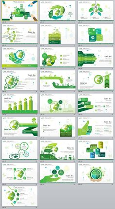 25+ Green chart slides PowerPoint Templates
