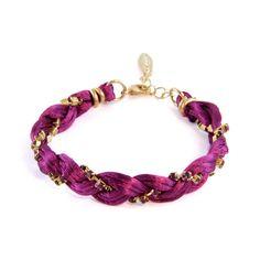 Ettika :: Plum Multi Strand Colored Satin Cord Braid with Amethyst Rhinestone Chain Bracelet