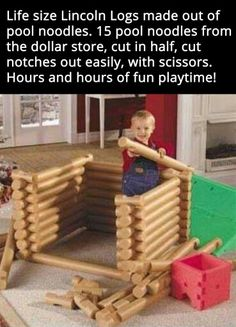 Giant Lincoln Logs made from pool noodles