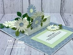 Share Sunshine Daisy Pop-Up Card by BronJ - Cards and Paper Crafts at Splitcoaststampers Fun Fold Cards, Folded Cards, Pop Up Box Cards, Floral Theme, Flower Making, Stampin Up Cards, Making Ideas, Cardmaking, Birthday Cards