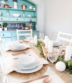 My blue (duck egg) painted hutch forms the perfect backdrop for this table setting - white crockery and candles, simple napkins, some faux eucalyptus and of course my favourite rose gold (or copper) cutlery! Copper Cutlery, Painted Hutch, Backdrops, Egg, Napkins, Table Settings, Rose Gold, Candles, Table Decorations