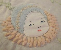 Vintage 1920's hand embroidered baby quilt with three darling baby faces as flowers~