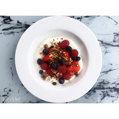 Homemade Granola w/ Mixed Seeds, Nuts & Raisins  :  Served w/ Yoghurt & Mixed Berries | WeEatWhat