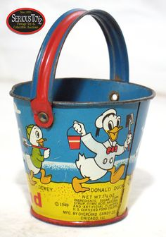 Lot Detail - 1949 'Disneyland' Candy / Sand Pail ( in printed catalog) Vintage Cartoon, Vintage Disney, Cupcake Dolls, Bucket And Spade, Cola Cake, Donald And Daisy Duck, Watering Cans, Vacation Memories, Pocket Money