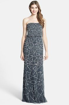 NWT! ADRIANNA PAPELL Embellished Strapless Blouson Gown Gray Sz 2 #AdriannaPapell #Blouson