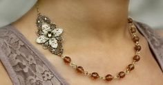 Bridal necklace earrings flower wedding necklace by AmberSky, $69.50