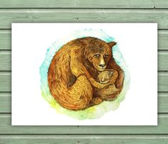 Printable Nursery Art  Mama and Baby Bear by SixDaysCreations