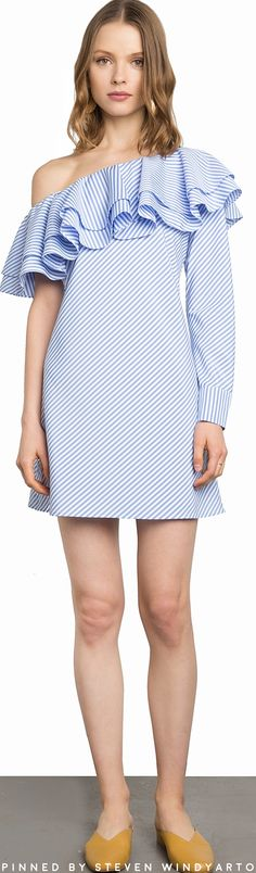 Pixie Market - Lola Striped Ruffle One Shoulder Dress #pixiemarket