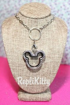 Mickey Mouse Theme Jewelry, Great for Vacation or Surprise Gift!  Silver Mouse Shaped Crystal Locket Necklace  Opens by RepliKitty - Only $19.99! Surprise someone with a Disney Vacation, and use the locket as part of the surprise!  Put a message that you are going to Disneyworld or Disneyland inside the locket! Can be customized and personalized for your trip! #locket #jewelry #charms #locket #necklace #mickey #minnie #mickeymouse #minniemouse #disneyworld #disneyland #disneyonabudget…