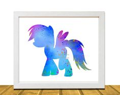 My Little Pony Inspired Wall Art, Watercolor Disney Inspired Art, Kids Room Decor, Kids Wall Art, Baby Girl Nursery Art, Kids Art Prints, Unframed, Printed on Archival Matte Premium Photo Paper. This colorful print is the perfect whimsical addition to any child's bedroom. What you are purchasing is an 8 X 10 Digital Print on Archival Matte Photo Paper. Unique birthday gift or baby shower present.