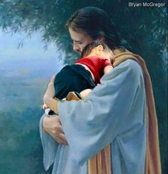 Jesus holding a little baby. Prophetic art.