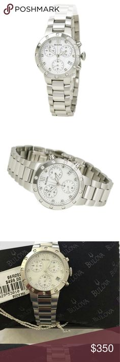 Bulova Women's Chronograph Maiden Watch A mother-of-pearl dial, and diamond-accented bezel make this women's stainless steel Bulova watch a dazzling choice.   Product details  Bulova offers a sleek and stunning timepiece that switches seamlessly from day to night.  Universal Product Identifiers  Brand  Bulova  Part Number  96R202  GTIN  00042429530102 Bulova Accessories Watches