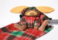 McPlaid Bunny Blankie British Columbia Tartan, Security Baby Blanket - A Bunny to Cuddle, canteam, ofg, handmade, waldorf, plaid