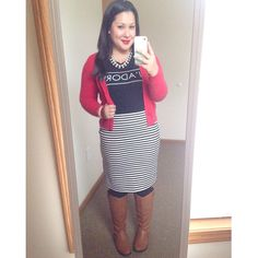 J'adore old navy graphic tee red cardigan striped skirt rinsing boots modest winter fashion Instagram user @melbella14