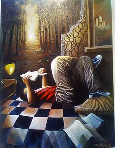 Unfinished Tales by Niko Cedicol (2012)  Acrylic on canvas [person reading in room with a wall that's cracked open into an enchanted forest]