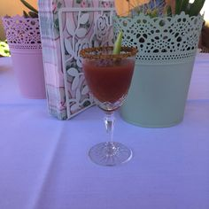 Drink. Bloody Mary Shot courtesy The Vintage Tea Party Book by Angel Adoree.  Pots, napkins and napkin stand from IKEA.