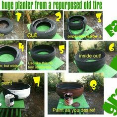 Im so doing this with the randoms someone left in my yard Tire planter