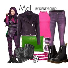 Mal by leslieakay on Polyvore featuring Raoul, IRO, Dr. Martens, Pomellato, Maria Francesca Pepe, Karl Lagerfeld, Camouflage Couture, disney, disneybound and disneycharacter