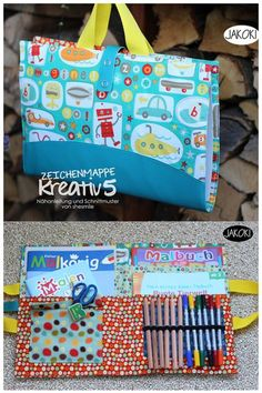 Nature bingo for kids (artwork and game ideas)- Drawing folder with plenty of space for drawing blocks, sketchbooks, crayons and drawing utensils. A sewing instruction with sewing pattern by shesmile. Sewing Hacks, Sewing Crafts, Sewing Tips, Drawing Utensils, Bingo For Kids, Kids Artwork, Creation Couture, Pattern Drawing, Pencil Case Pattern