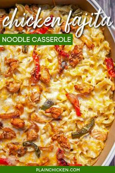 Chicken Fajita Noodle Casserole - chicken, fajita seasoning, bell peppers, onions, noodles, sour cream, cream of chicken soup and cheese. Seriously delicious! Can make ahead of time and refrigerate or freeze for later. Makes a lot - can split between 2 pans and freeze one for later. Everyone loves this casserole! #casserole #mexican #chicken #freezermeal Casserole Recipes, Meat Recipes, Mexican Food Recipes, Crockpot Recipes, Chicken Recipes, Dinner Recipes, Cooking Recipes, Diabetic Recipes, Cinco De Mayo