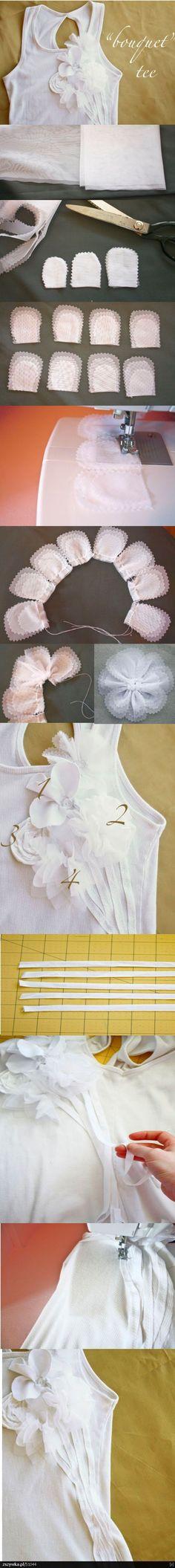 Customização de Camiseta: Bouquet de tecido