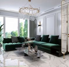 Colourful Living Room, Living Room Green, My Living Room, Green Living Room Furniture, Green Rooms, Modern Furniture, Classic Living Room, Living Room Modern, Home Room Design