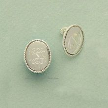 8a72f792f Braided and Engraved Oval Silver Monogram Earrings, Birthday Gift Idea! Monogram  Earrings, Monogram
