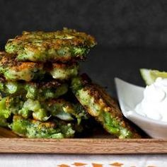 Broccoli Parmesan Fritters from Smitten Kitchen - Experience broccoli like never before! Throw together tasty broccoli cakes with a pinch of spice and sharp parmesan cheese. Found at www.edamam.com.