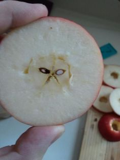 """Grumpy to the core: A visage of """"grumpy cat"""" appears in a sliced apple. (From Twitter)"""