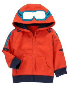 Show 'em who's a pro with this super soft hoodie complete with goggle lenses on the hood and ski pole appliqués on each arm. (Gymboree 3m-5T)