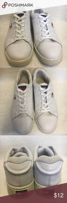 Tommy Hilfiger White Leather Men Shoes Tommy Hilfiger Mens Shoes size 10.5 color White man made leather. Very good condition just need some cleaning. Please refer to photos for overall condition. Will clean it before shipping.  Bundle 3 or more items and get a 20% discounts, save big on shipping, and a FREE jewelry set (necklace + earrings) of your choice! Tommy Hilfiger Shoes